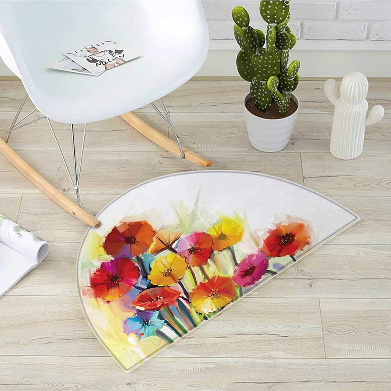 Flower Semicircular CushionGerbera Bouquets Romantic Floral Arrangement Blossom Beautiful Side of The Nature Entry Door Mat H 31.5  xD 47.2  Red Yellow