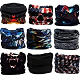 Headwear, Head Wrap, Neck Gaiter, Headband, Fishing Mask, Magic Scarf, Tube Mask, Face Bandana Mask, Neck Balaclava and Sport Scarf 12 in 1 Sweatband for Fishing, Hiking, Running, Motorcycling, 9 Pack