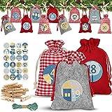 Sylanda Calendario de Adviento para rellenar bolsas de tela, calendario de Navidad para rellenar bolsas de yute, bolsas de tela con 24 números de Adviento, pegatinas