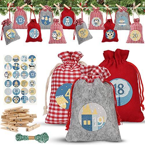 24 Adventskalender zum Befüllen, Weihnachten Geschenksäckchen mit Zahlen Aufkleber + Mini-Holzklammern und 10m Jute Hanfseile, Weihnachtskalender tüten Geschenkbeutel, DIY Festival Geschenksäckchen