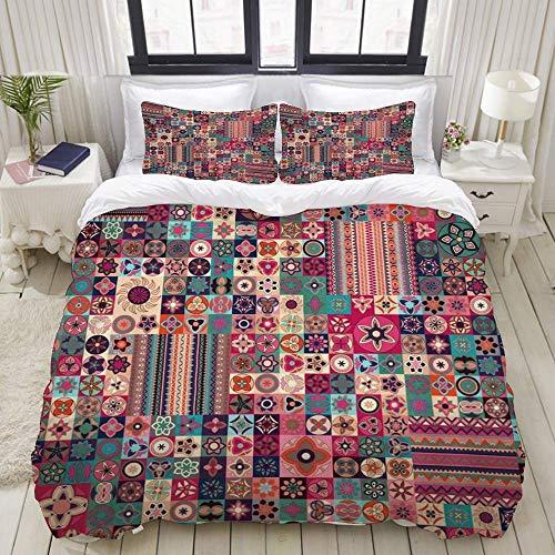 Juego de funda nórdica de fácil cuidado y 2 fundas de almohada, patchwork marroquí con motivos geométricos florales, azulejos marroquíes, árabe tradicional, original tunecino, elegante funda de edredó