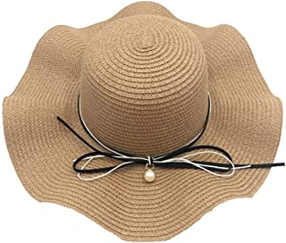 YSNRH Hat Bow Pearl Outdoor Sun hat Straw Fashion Wavy Side Ladies Walking Hat ,Wide Brim Hat -Trekking Hat - Hiking Hat Summer hat Beach Hat Foldable Camping,Outdoor,Hiking,Summer (Color : Brown)