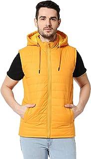 Bewakoof Men's Yellow Plain Sleeveless Puffer Jacket with Detachable Hood