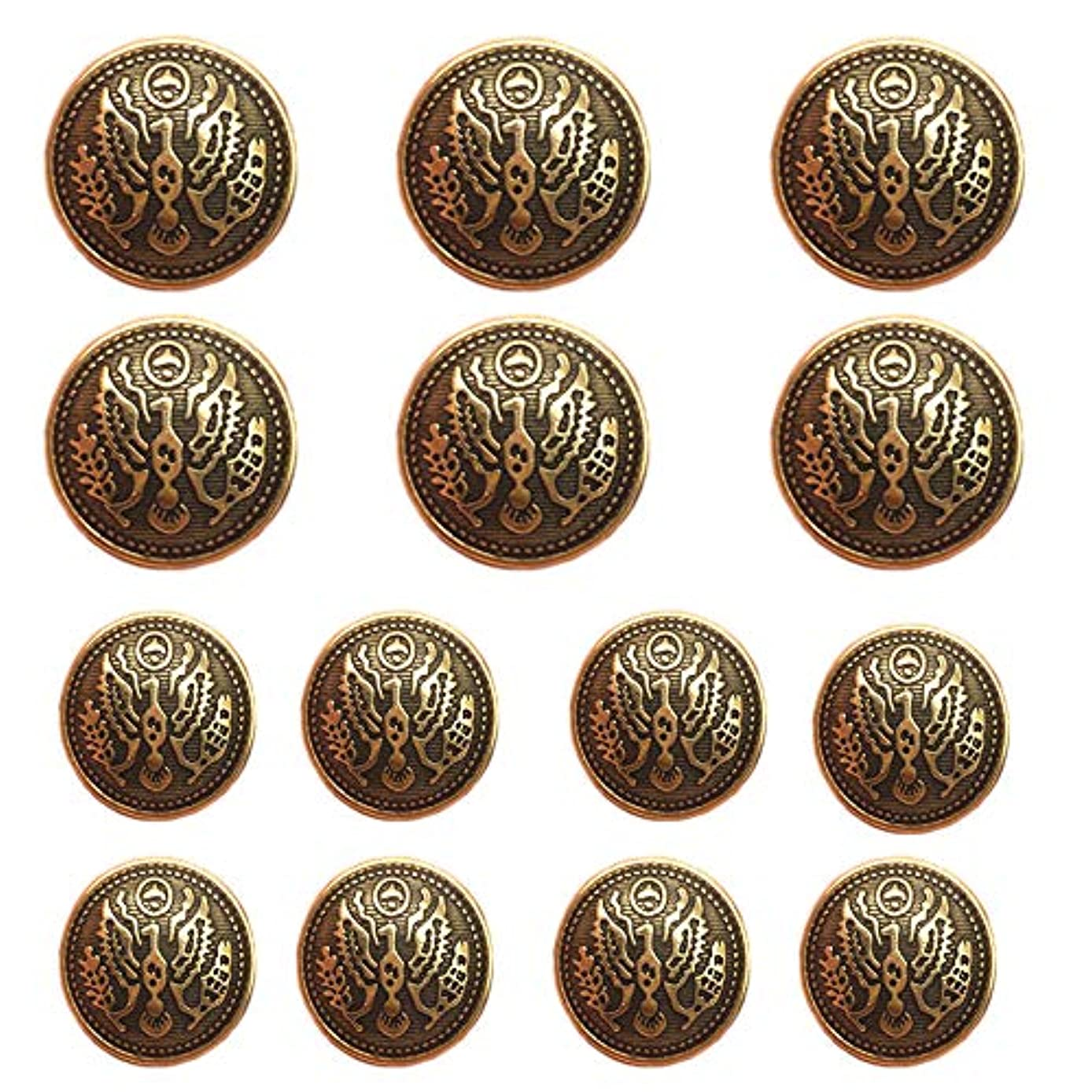 YaHoGa 14pcs Antique Gold Blazer Buttons for Men's Suits Blazers Sport Coats 20mm 15mm Metal Shank Blazer Buttons Set for Sewing Coats Suits Blazers (MB20050)