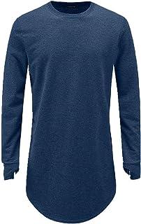 Mens pollice foro polsini manica lunga t-shirt Basic maschile hip hop vestiti homme collare rotondo