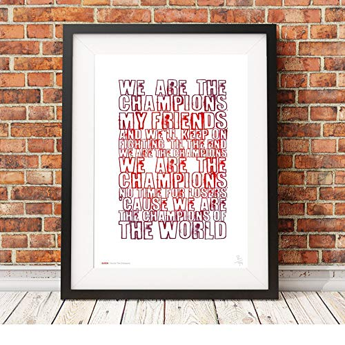 Freddie Mercury – Queen – We Are The Champions – Songtext – A3 Typografie Poster Kunstdruck, limitierte Auflage