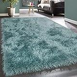 [page_title]-Paco Home Moderner Wohnzimmer Shaggy Hochflor Teppich Soft Garn In Uni Pastell Türkis, Grösse:200x290 cm