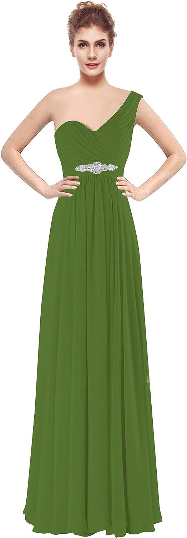 Judy Ellen Women One Shoulder Long Bridesmaid Dress Party Gown J198LF