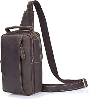 Leather Chest Bag Crossbody Shoulder Business Backpack Outdoor Daypack for Travel Hiking Sport Color : Black Carriemeow Men;s Sling Bag