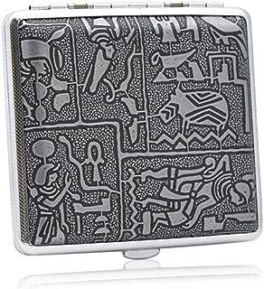 ZGSH Elegant Style Cigarette Case, Leather Personality Creative Ultra-Thin Metal Cigarette Holder Cigarette Box Moisture-Proof Anti-Pressure Cigarette Case Silver (Color : Silver, Size : 16)
