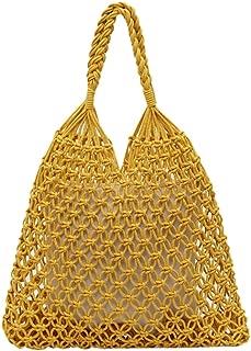 Wultia - Shoulder Bag Women's Fashion Woven Shoulder Bag Solid Color Handbag Woven Bag Beach Bag sac Bolsa Feminina #G8 Yellow