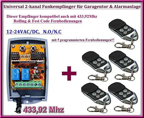 Universele 2-kanaals rolling code draadloze ontvanger + 5 handzenders, voor het automatiseren van de garage poort/alarminstallatie/enkele andere apparaten 12-24V DC, 433,92 MHz NO/NC