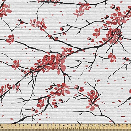 ABAKUHAUS Naturaleza Tela por Metro, Ilustración Ramas de Sakura Clima Ventoso Abril Arte en Estilo Pintura Japonesa, Decorativa para Tapicería y Textiles del Hogar, 1M (148x100cm), Coral