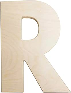 Darice U0993-R Bold Solid Wood Letter, Capital R, 12