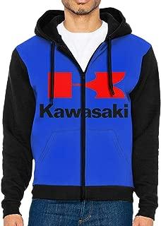 HANRUI Fashion Mens Man Kawasaki Motorcycles Logos Vector Hooded Bag Zipper Hoodie Black