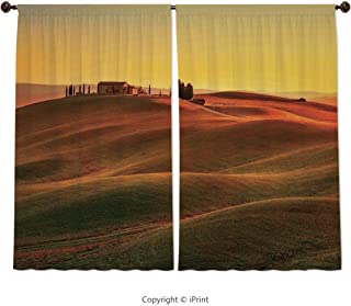 Home & Kitchen Decor Window Treatment Panel Curtains, Tuscan Decor,Rural Landscape of European Mediterranean Rural and Old House in Countryside Farm Print,Orange White, 55 W X 39 L Inches