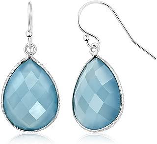 925 Sterling Silver Blue Agate Women's Dangle Earrings 14.00 Cttw Pear Shape 16X12MM