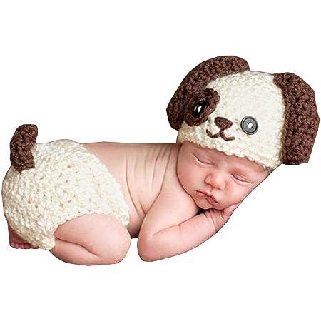 Dayan Neugeborene Cute Dog Handgemachte Häkelarbeit Strick Unisex Baby Kappen Outfit Fotostütze Baby