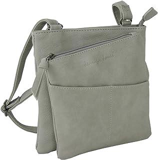 Jennifer Jones Taschen Damen Damentasche Handtasche Schultertasche Umhängetasche Tasche klein Crossbody Bag hellgrau 3106