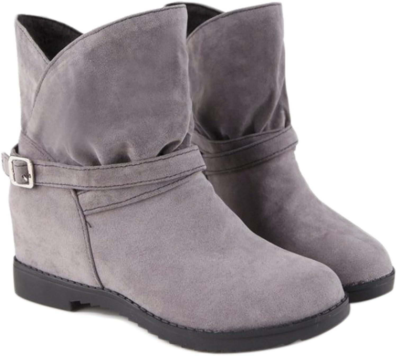 QZUnique Women Buckle Increased Hidden Mid-Heel Casual Faux Suede Surface Ankle Boots