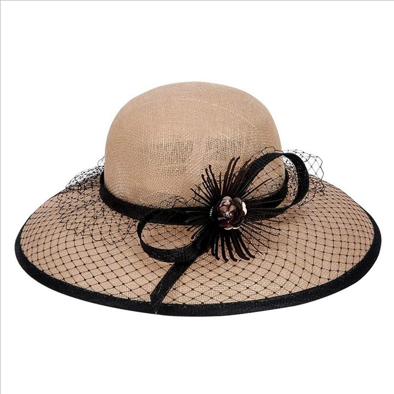KERVINJESSIE Beige Summer Straw Hat Cool Beach Hat Ladies Hat (color   Beige, Size   One Size)