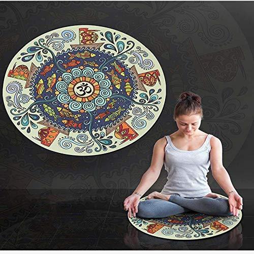 Yoga Mat Natural Rubber Round Yoga Mat Eco-Friendly Non-Slip Trainning Fitness Gym Pilates Mats Gymnastics Exercise Printed Sude Yoga Mat Type6