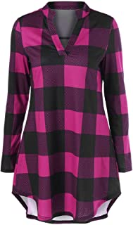 Car Electronics Accessories Audio & Video Accessories Bravetoshop Women Henley V-Neck Plaid Tunic Long Sleeve Casual Shirt Flare Hem Top