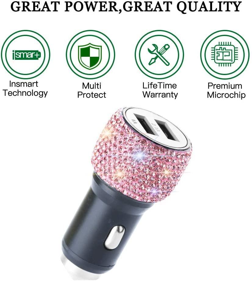 Dual USB Car Charger,SAVORI Car Adapter Bling Bling Rhinestones Crystal Car Decorations for Fast Charging Car Decors for iPhone Xs Max X Plus Samsung iPad Pro//Mini