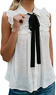Hot Sale Women Casual Solid Sleeveless With Tie Ruffled Turn-Down Collar Tank Top Blouse