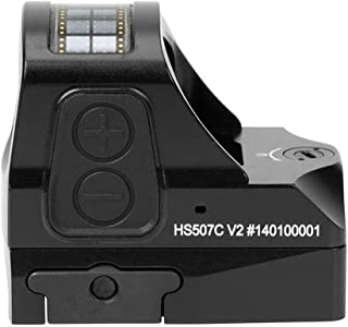 Holosun HS507C-V2 Multi-Reticle 2 MOA and 32 MOA Circle Parallax Free Pistol Red Dot Optical Sight with Solar Failsafe and Shake Awake, Red
