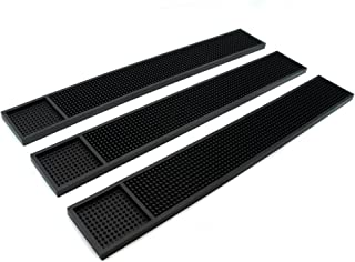Rubber Bar Service Mat for Counter Top 24x3.5 inches (Black 3-Pack)