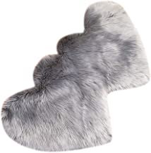 2pcs Heart Shaped Faux Sheepskin Sofa Cover Seat Pad Shaggy Area Rugs for Bedroom Floor - Grey
