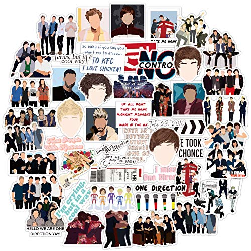 One Direction Stickers [52Pack], Harry Styles Louis Liam Horan Waterproof Vinyl Stickers Decals for Laptop Water Bottle Bumper Luggage Computer Skateboard Snowboard, Gift for Kids Girls Teens