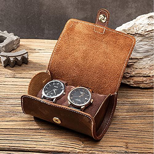 LHY HOME Estuche de Cuero con 3 Ranuras para Reloj, Caja de Reloj Vintage portátil, Soporte para Relojes, Organizador de Bolsa de Almacenamiento de joyería de Viaje, 19x8,5 cm