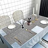 Tencoz Tischset, Platzdeckchen Platzset rutschfest Abwaschbar PVC Abgrifffeste Hitzebeständig Platzdeckchen Set von 4 (44 x 30cm) und Tischläufer 135 und Untersetzer Set von 4 für Küche - Silber Grau - 7