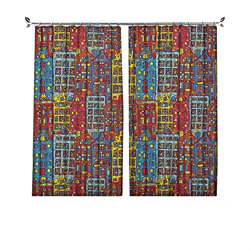 Cortinas de 90% opacas, diseño urbano de Amsterdam Holland, paisaje urbano con impresión de ventanas coloridas, cortinas plisadas para dormitorio, sala de estar, 52 x 63 pulgadas, multicolor