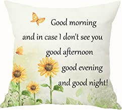 Mesllings Sunflower Watercolor Good Morning and in Case I Don't See You Good Afternoon Good Evening Good Night Cotton Linen Throw Pillow Cover Cushion Case Office Decorative Square 18 X 18 inches