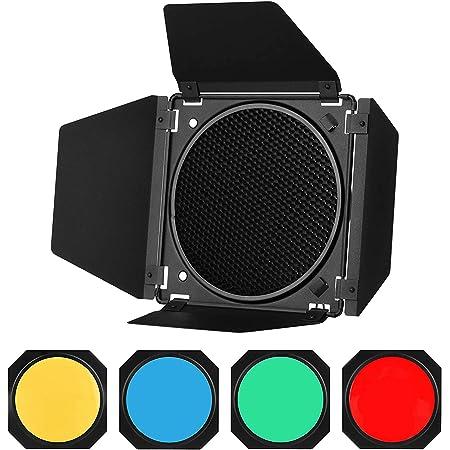 """GODOX BD-04 Puerta de Granero Solidly Kit para 7"""" Estándar Reflector con Rejilla de Nido de Abeja y Cuatro Filtros de Gel de Color (BD04)"""