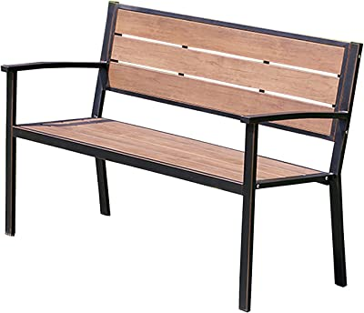 Household Products Park Chair Outdoor Bench, Cast Iron Leisure Seat Bench with Backrest, Garden Bench with Waterproof Plastic Wood Seat Board, Can Accommodate 2-3 People