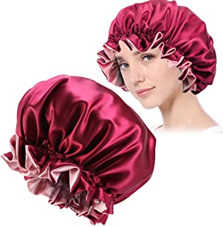 Satin Bonnet,Satin Sleep Cap for Women,Satin Bonnets For Women,Satin Sleeping Cap,Satin Hair Bonnet,Satin Silk Bonnet Sleep Cap,Satin Sleep Bonnet for Curly Hair,Extra Large, Double Layer(Wine Red)
