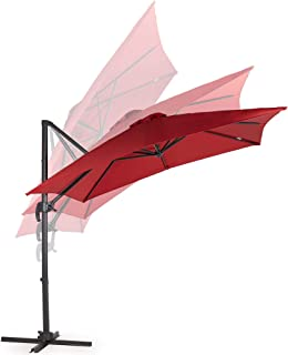 VonHaus Offset Roma Umbrella with UV50+ Protection – Cantilever Parasol Sun Shade with Tilt & Rotate Functions – Square Parasol Shape – Air Vent – Garden Patio Decking Outdoors Furniture