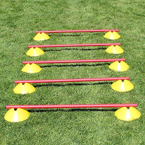 Mini-Hürden,5er Set, gelbe Markiermulden und rote Stangen 100 cm, für Agility-Training