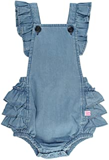 RuffleButts Baby/Toddler Girls Flutter Overall Ruffled Romper