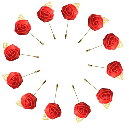 WeddingBobDIY 12Pieces/lot Groom Boutonniere Wedding Silk Rose(3.5cm) Flowers Accessories Prom Pin Man Suit Decoration Red
