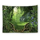 Brandless Tapiz del Paisaje de la Selva Tropical Camino del Bosque Verde Árboles Planta Colgante de Pared Tapiz del hogar Decoraciones para el hogar para la Sala de Estar