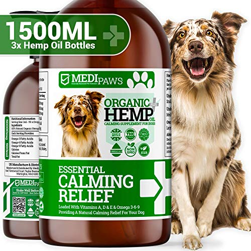 1500ml DOG CALMING HEMP OIL | High Strength Natural Organic Hemp Oil Drops For Dogs & Cats | Pet Supplement | Omega 3,6,9 | Made In UK (1500ml)