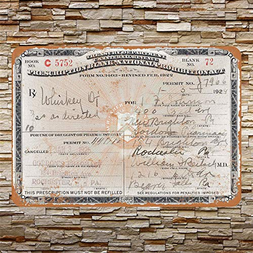 Henson 1924 recept voor Whiskey tijdens verbod traditionele Vintage Tin teken Logo 12 * 8 Reclame in het oog springende wanddecoratie