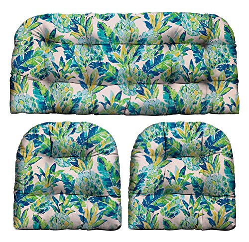 RSH Décor Indoor Outdoor Scroll & Medallion Prints - 3 Pc Tufted Wicker Cushion Set 1 Loveseat & 2 U-Shape-Choose Color & Size (Vida Opal Yellow Green Blue Lily Pineapple, LS 41'x19' US 19'x19')