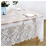 White Lace Tablecloth 60x120 inches Wedding Lace Tablecloth Vintage Embroidered Lace Overlay for Rustic Outdoor Party Event Reception Dining Tables Decor