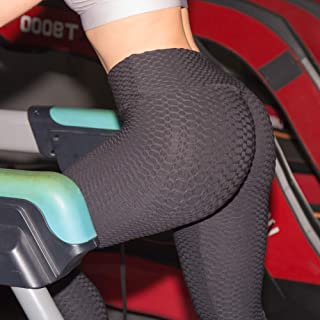 6b4a13fdba2af1 huangThroStore Damen High Waist strukturierte Workout Anti-Cellulite  Kompression-Leggings Slim Fit Butt Lift